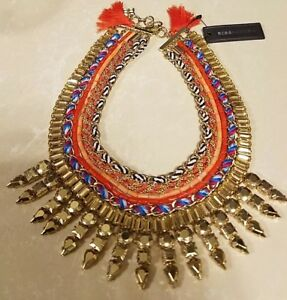 BCBG MAX AZRIA TRIBAL DROP STONE STATEMENT  NECKLACE