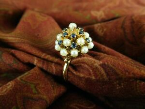 Vintage 14K Yellow Gold Sapphire & Pearl Domed Cocktail Ring in Size 7
