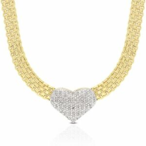 Womens Fine Diamond Gold Heart Choker Necklace 18""
