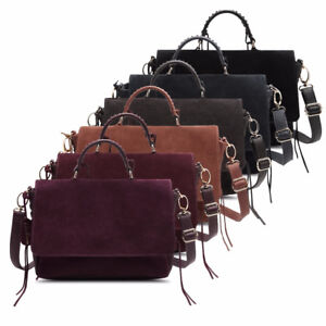 Suede Split Leather Casual Saddle Bag For Women 23X33 cm Size and Solid pattern