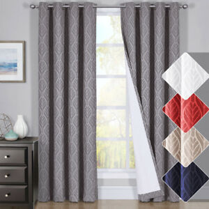 HILTON Window Treatment Thermal Insulated Grommet Blackout Curtains Drapes PAIR $29.99