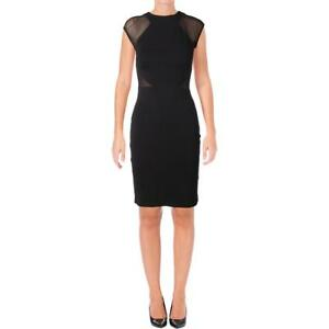 French Connection Womens Mesh Inset Sheath Party Cocktail Dress BHFO 8421