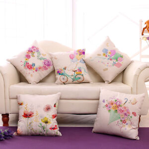 Miracille Color Floral Heart Butterfly Pattern Cushion Covers Spring Lovely