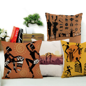 Dancing Woman Ethnic Cushion Cover African Style Pillow Case Linen Cotton Color