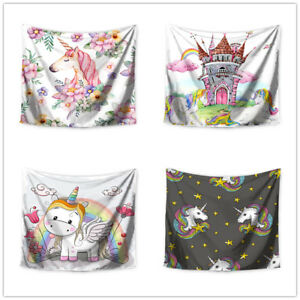 Unicorn Rainbow Castle Printed Wall Tapestry Kids Room Wall Hanging Tapestries