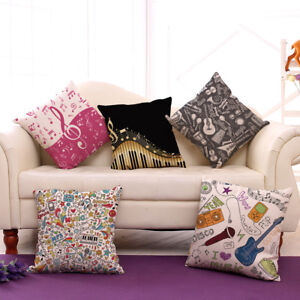 Music Note Home Decoration Cushion Cover Office Chair Back Cushion Case Windows