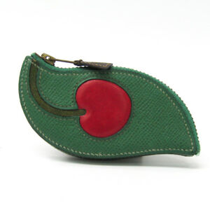 Hermes Cherry Women's Courchevel Leather Coin Pursecoin Case GreenRed BF328429