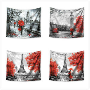 Europe Romantic City Paris Eiffel Tower Pattern Tapestry Wall Hanging for Home