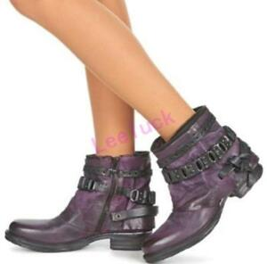 Women's Zip Motorcyle Combat Chain Decor Rock Knight Ankle Boots Leather Shoes