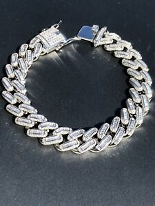 Men's Miami Cuban Link Bracelet Real Solid 925 Silver Baguette Diamonds Heavy