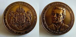 Medal with King Michael I Mihai of Romania gorgeous the royal coat of arms $125.00