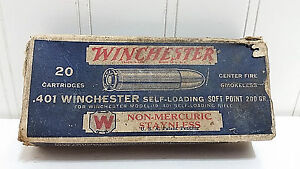 Antique WINCHESTER Model 10 Rifle Empty Ammo Cartridge Box Vtg 401 Soft Point