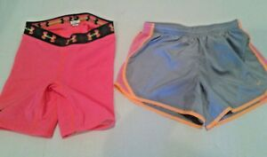 LOT Girls Youth Nike Tempo Running Shorts Large& UA Softball Strike Zone Slider