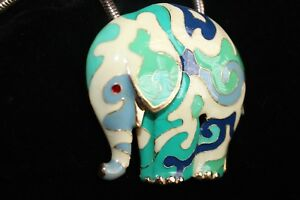Estate Costume Jewelry Collectors Elephant Pendant Enamel Brooch Necklace Chain