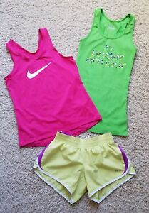 Lot of 3 Girl's Under ArmourNike Tennis Running Athletic ShirtsShorts Size L
