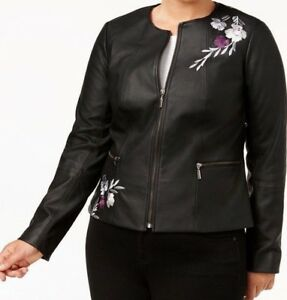 Alfani Women's Plus Size Embroidered Faux-Leather Moto Jacket Size 3X NEW