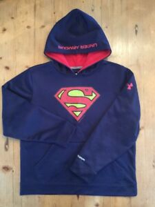 Boys Under Armour Storm Superman Youth Large YLG Blue Red EUC!