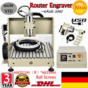 USB 4Axis 3040 Router Engraver Engraving Milling Machine 800W VFD 3D Cutter DHL