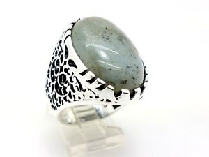 925 STERLING SILVER HANDMADE DENDRITIC AGATE MEN'S TURKISH OTTOMAN RING 10.5 US