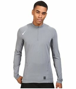 NIKE Dri Fit Pro Warm 14 Zip Long Sleeve Pullover Top Shirt Cool GreyBlackW