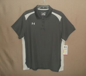 Under Armour Heat Gear Loose Fit Women Gray  White Short Sleeves Top Size XL