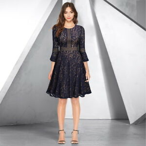 Women's A-Line Lace Cocktail Dress with Bell Sleeve for Any Event!