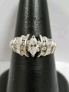 14k Two Tone Gold Marquise Round & Baguette Diamond Engagement Ring 1.00 ct tw