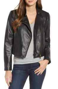 $350 MICHAEL KORS Women SOLID BLACK Zippered Pockets Leather Moto JACKET SIZE XL