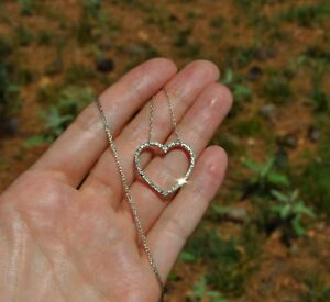 10K SOLID WHITE GOLD NATURAL DIAMOND HEART NECKLACE PENDANT 19