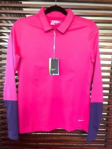 Nike Golf Tour Performance Dry Fit Women's Long Sleeve Zip Shirts M Pink NEW