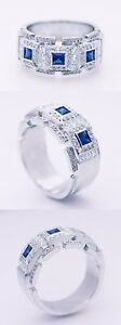 Mens 2.35ct Diamond & Blue Sapphire PLATINUM Designer Band. Heavy 27 grams
