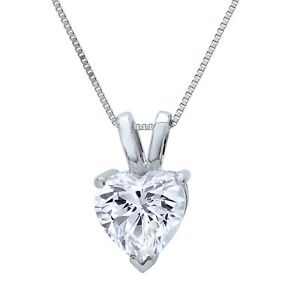 1 Ct Heart Cut Brilliant Diamond Pendant in Solid 14k White Gold 16quot; Necklace
