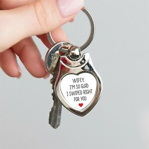 Personalised Swiped Right Metal Heart Keyring Birthday Anniversary Gift Present GBP 5.99