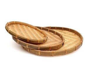 Rattan 3 Piece Set Asian Food Rice Fruit Tray Bowl Traditional Wicker Serving