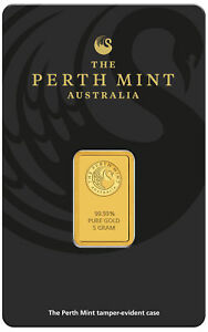 5 gram Perth Mint Gold Bar .9999 Fine in Assay - New design updated in 2018
