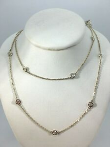 .75 ct natural (REAL) 10 station DIAMOND by the yard necklace 14k white GOLD 18