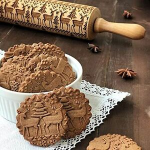 Wooden Christmas Tree Engraved Rolling Pin Cookies Embossing Dough Cake Bak