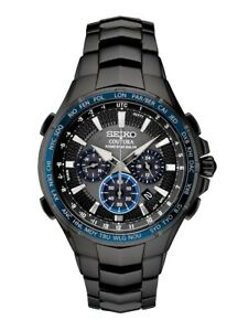 New Seiko Solar Coutura Radio Controlled Black PVD Bracelet Men's Watch SSG021