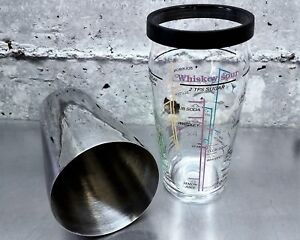 Vtg Retro 1950s Boston Martini Cocktail Shaker Bar ARC Glass Drink Recipe France