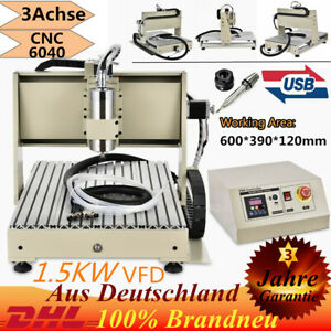 USB 3 Axis 6040 Router Engraving Machine 1.5Kw VFD Drill Mill Wood 3D Cutter NEW