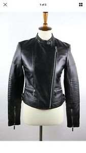 NWT MICHAEL Michael Kors Black Lamb Leather Long Sleeve Full-Zip Moto Jacket S