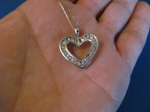 14k solid white gold vintage diamond heart pendant necklace quality not scrap