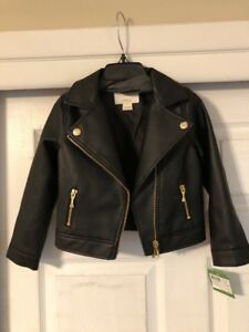 Kate Spade Faux Leather Moto Jacket For Girl's Size 4 Adorable Nwt