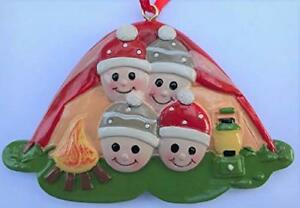 Family of Four Camping in Tent Christmas Ornament Campfire Friends Grab Gift