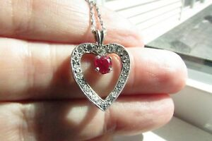 Estate 14K white gold diamond and ruby heart pendant 16