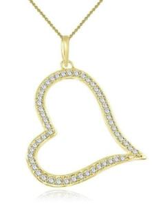 Heart Pendant Necklace SI1 H 34 Ct Diamond Pave Set 14Kt White Gold 1.60 Inch
