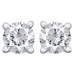 4Cttw Round Cut Diamond Stud Earrings 14K White Gold Christmas Special