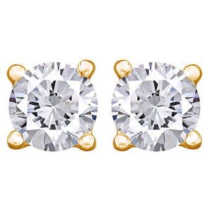4Cttw Round Cut Diamond Stud Earrings 14K Yellow Gold Christmas Special
