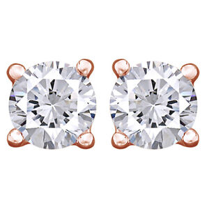 4Cttw Round Cut Diamond Stud Earrings 14K Rose Gold Christmas Special