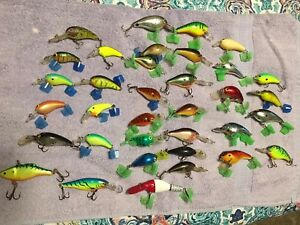 Huge Lot 35 Crank bait Fishing Lures Rapala Big-O & Some No Name Vtg & Light Use